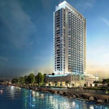 """The Paramount Hotel, un progetto che si trova in """"Maritime City"""", un'estensione artificiale nei pressi del Porto Rashid e dei bacini di carenaggio."""