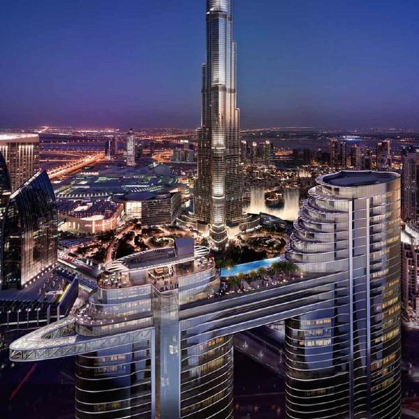 """""""The Address Residences Sky View"""" a Dubai, una sorprendente struttura composta di 2 torri con al suo interno un hotel, un residence e appartamenti gestiti."""